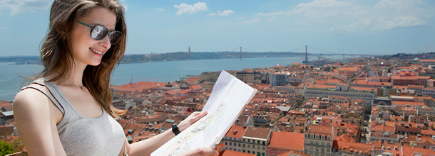 City map lezen in Lissabon